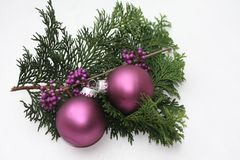 Purple christmas ornaments Royalty Free Stock Images