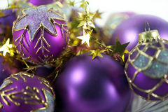 Purple Christmas Ornaments Stock Image
