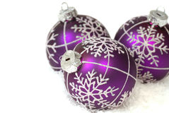 Purple Christmas ornaments Royalty Free Stock Photography