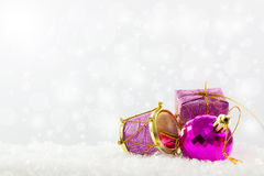 Purple Christmas ornaments Stock Images
