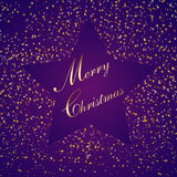 Purple christmas star, with small paper, illustration Stock Photography