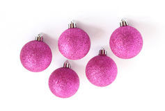 Purple christmas tree bauble decorations Royalty Free Stock Photo