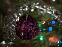 Purple Christmas tree toy on the Christmas tree on the backgroun Royalty Free Stock Photos