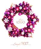 Purple Christmas wreath with snowflakes isolated Stock Photo