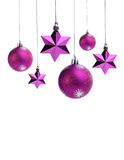 Purple christms balls and stars Stock Photos