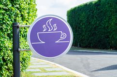 Purple circle sign in the garden. royalty free stock photography