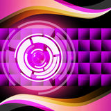 Purple Circles Background Shows Record Player And Music Stock Photos