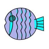 Purple circular fish. Color computer drawing Royalty Free Stock Photography