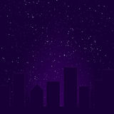 Purple City Skyline Royalty Free Stock Photo