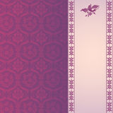 Purple classical damask vertical banner Royalty Free Stock Images