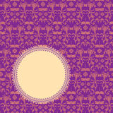 Purple classical oriental floral round banner Royalty Free Stock Photography