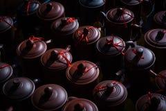 Purple clay tea set Royalty Free Stock Photography