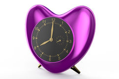 Purple clock in the shape of heart Royalty Free Stock Photography