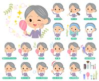 Purple clothes grandmother_beauty. Set Stock Images