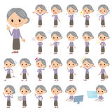 Purple clothes grandmother. Set of various poses of Purple clothes grandmother Stock Photos