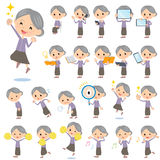 Purple clothes grandmother 2. Set of various poses of Purple clothes grandmother 2 Royalty Free Stock Photography