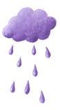 Purple cloud and purple rain. Illustration of purple cloud and purple rain Stock Photos