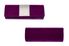 Purple clutch with gems on a white background Stock Photo