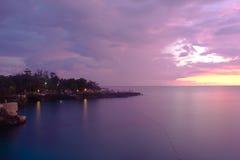 Purple Coastline. A purple sky on the coast of Jamaica Royalty Free Stock Images