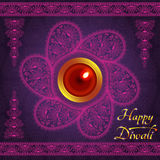 Purple color card design for Diwali festival with lamp royalty free illustration