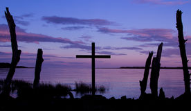 Purple Color Cross Sunrise Stock Images