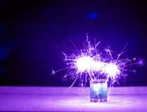 Purple color fireworks Royalty Free Stock Image