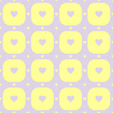 Purple color hearts pattern. Purple hearts in yellow rounded squares vector seamless pattern Royalty Free Stock Image