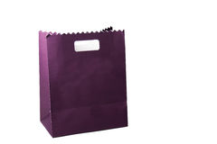 Purple color paper bags isolated on white. Royalty Free Stock Image