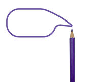 Purple color pencils and text box on white Royalty Free Stock Photo