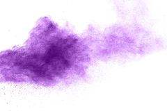 Purple Color powder splash. Cloud isolated on white background Royalty Free Stock Images