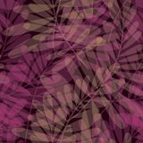 Purple color tropical leaves seamless pattern. Stock Photography