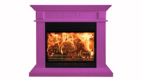 Purple colorful burning classic fireplace isolated on white background.  royalty free stock image