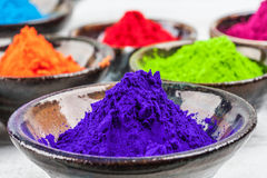 Purple colorful dye powder for Holi indian festival Stock Image