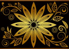 Black gold colorsbackground flowers detail Royalty Free Stock Photography