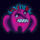 Purple comic character, vector funny alien monster. Emotional ex Royalty Free Stock Images