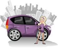 Purple compact car Stock Images