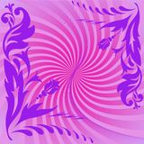 Purple composition. Purple floral composition on swirling pink background Royalty Free Stock Photos