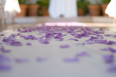 Purple confetti on table. Purple confetti scattered on table at wedding ceremony Royalty Free Stock Images
