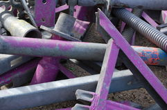 Purple construction pipes. A collection of metal construction stuff Royalty Free Stock Photos