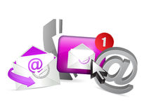 purple contact us icons graphic concept Royalty Free Stock Photos