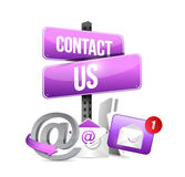 purple contact us sign and icons illustration Stock Photos