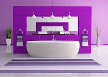 Purple contemporary bathroom Stock Image