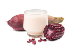 Purple corn cob and corn juice (corn milk) Royalty Free Stock Photo