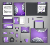 Purple corporate identity set with gray abstract background. Stock Image