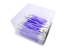 Purple cotton swabs Royalty Free Stock Photography