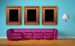 Purple couch with standard lamp and picture frames vector illustration