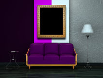 Purple couch with table, stand lamp with frame Stock Image