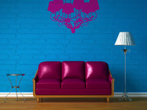 Purple couch, table and standard lamp Royalty Free Stock Photography