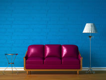 Purple couch, table and standard lamp vector illustration