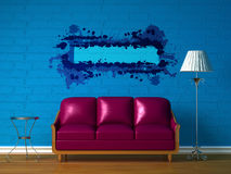 Purple couch, table and standard lamp stock illustration